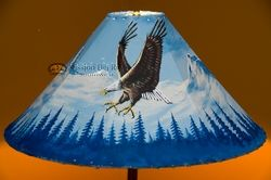 "Painted Leather Lamp Shade 24"" -Mountain Eagle  (PL80)"