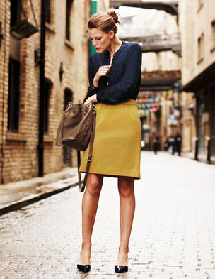 navy peasant blouse and mustard a-line skirt, with tan tote ...