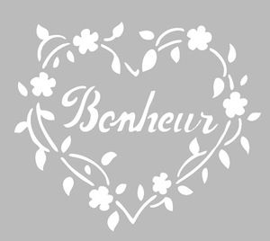 pochoir adh sif home d co 12 x 12 cm coeur bonheur stencil pinterest bonheur maison et. Black Bedroom Furniture Sets. Home Design Ideas