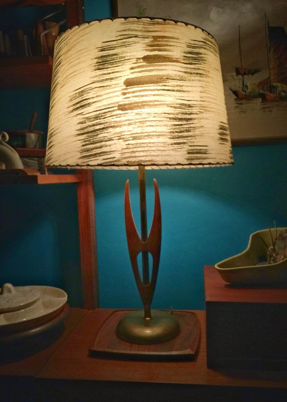 """My teak """"Vulcan"""" lamp with it's new vintage shade"""