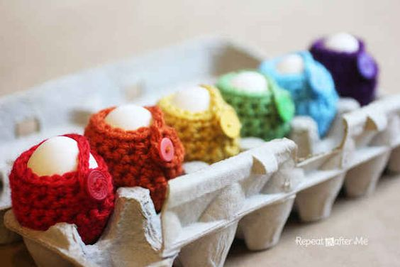 Crocheted egg cozies. | 19 Pinterest Projects Ain't Nobody Got Time For