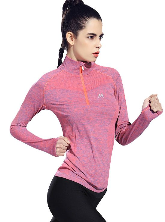 Womens Long Sleeve Running Top Quick Drying Half Zip Sports Yoga Shirts