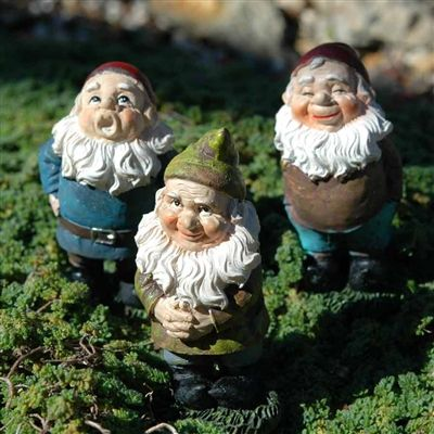 Set of 3 little gnomes perfect for miniature garden.