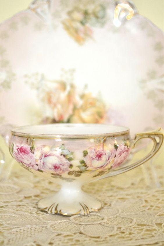 roses on teacup