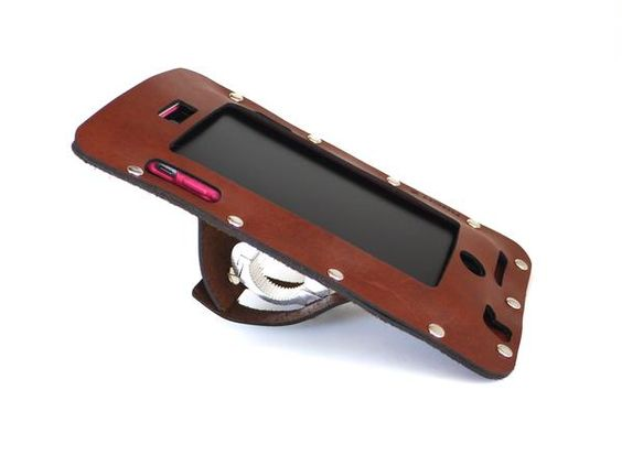 bicycle iPhone holder in leather