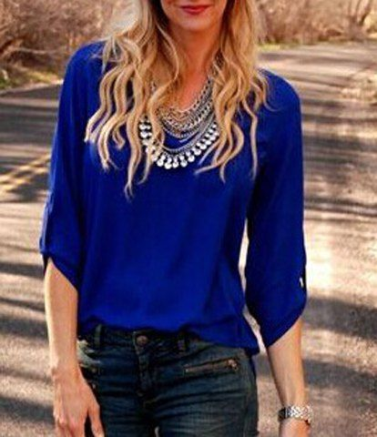 Stylish V Neck 3/4 Sleeve Pure Color Chiffon Blouse For Women