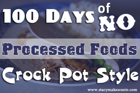 100 Days of No-Processed-Foods: Crock-Pot-Style :) This is awesome!!! This is a super neat blog: StacyMakesCents.com She collected alllll 100 recipes for us when the original site disappeared. She has them there, along with amazing ideas on living debt-free etc. Love it!!