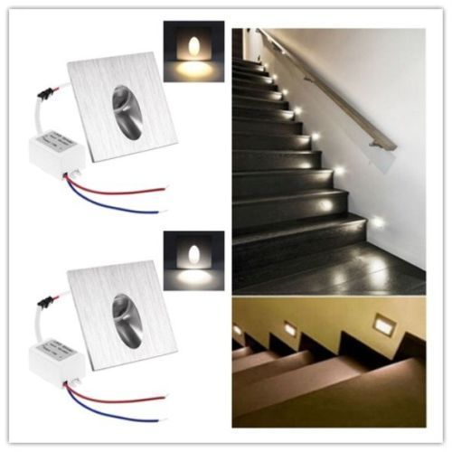 1w Led Mural Spot Lampe Encastre Mur Escalier Corridor Lampe Carre Spot Lumiere Ebay Spot Escalier Escalier Lumieres Encastrees