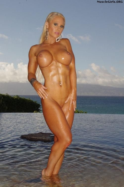 Nude Muscle Girls — Buff blonde in the water