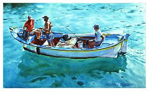 """Three men in a boat by Graham Berry Watercolor ~ 12"""" x 20"""""""