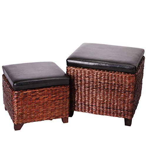 Eshow Ottoman Rattan Ottoman With Storage Hassocks And Ottomans Foot Rest Pouf Ottoman Foot Stools Cube Decoration Furniture Leather Ottoman Seating Storage Ben Storage Ottoman Rattan Ottoman Storage Ottoman Bench