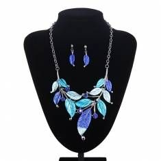 Vintage Metal Leaf Rhinestone Statement Necklace Earrings Jewelry Set http://shrsl.com/?~783v