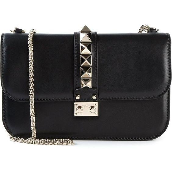 Valentino Garavani Glam Lock Shoulder Bag (2,290 CAD) ❤ liked on Polyvore featuring bags, handbags, shoulder bags, black, black leather purse, chain shoulder bag, leather shoulder handbags, valentino purses and leather purse