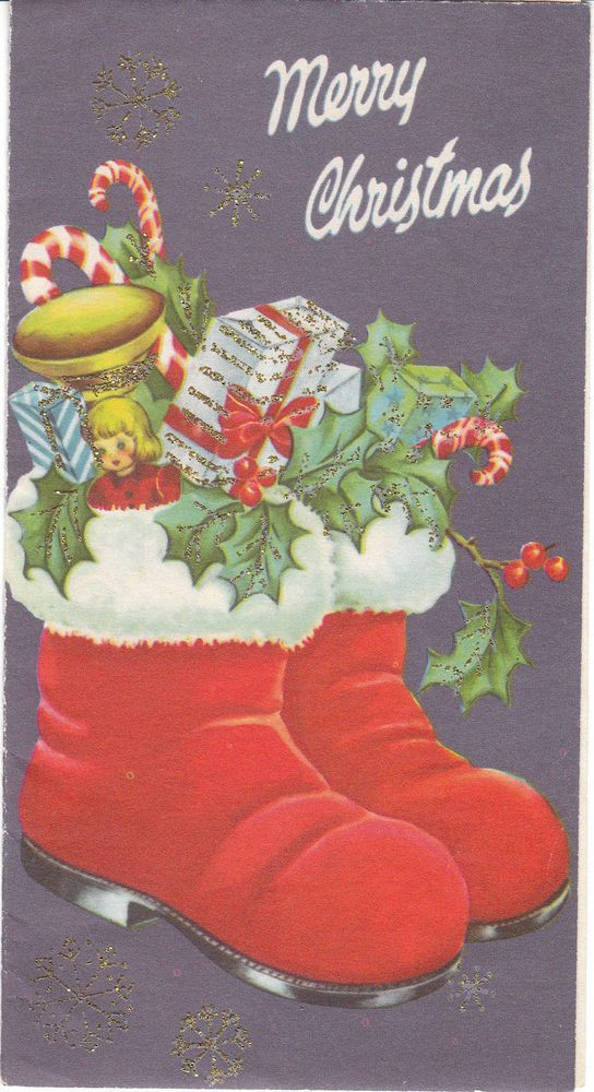Vintage Christmas Card Santa Boots Toys Gifts Glitter