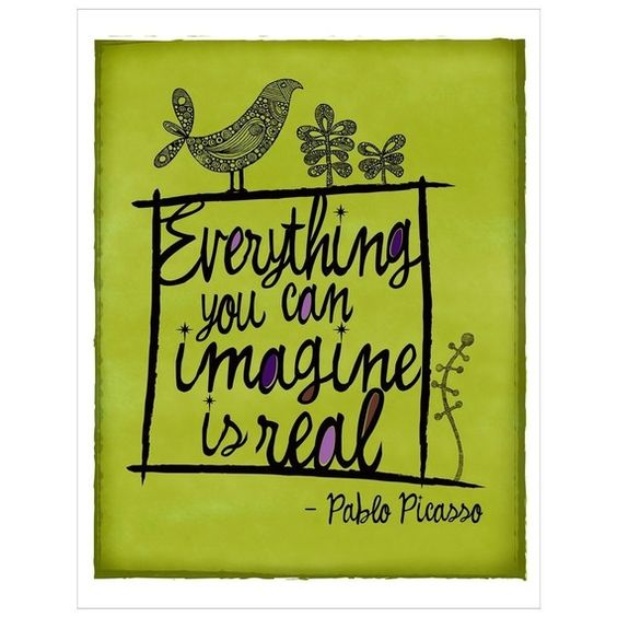 Famous quote from Pablo Picasso about imagination - perfect for kids rooms. via Modern Parents Messy Kids