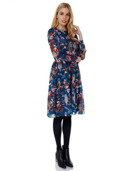 Dámské šaty s potiskem sovy YUMI - tyrkysová