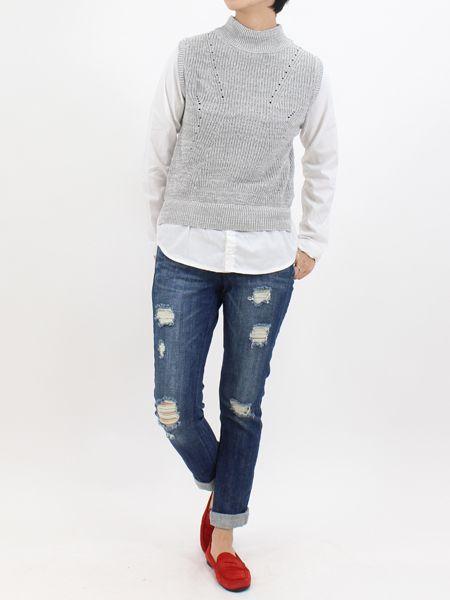 ニット×シャツドッキングトップス|NIZIIRO(ニジイロ) / NIZIIRO ONLINE STORE #ファッション  #レディース #fashion #ニット