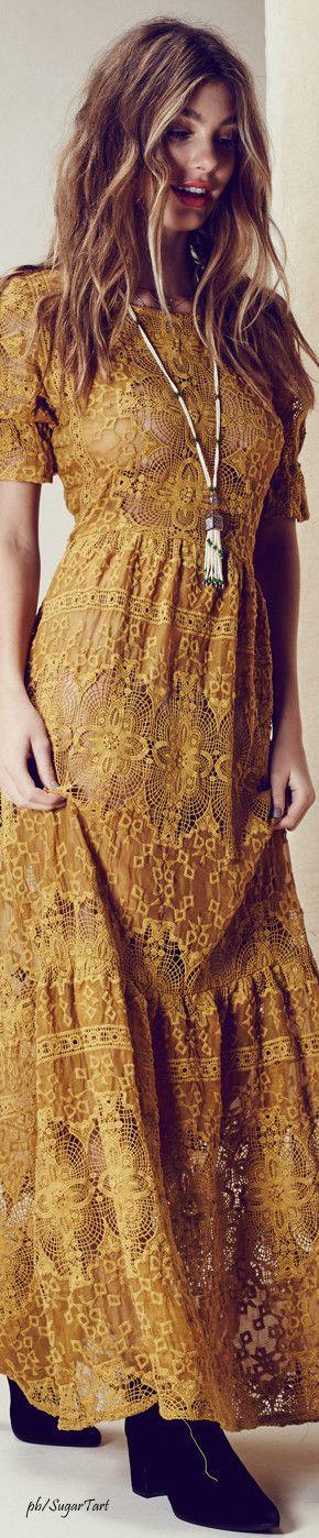 Gold Boho Lace Dress  ≫∙∙☮ Bohème Babe ☮∙∙≪• ❤️ Curated  by Babz™ ✿