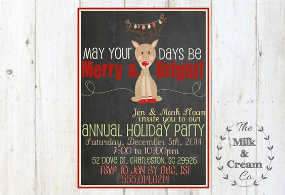 Chalkboard Reindeer Holiday Party Invite by themilkandcreamco