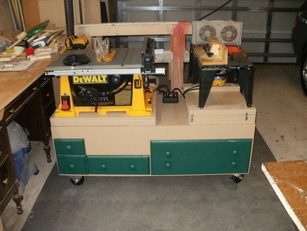 Portable table saw/router unit.: Tool Carts, Long Workbench, Ww Workbenches, Dewalt Tablesaw, Weekend Workshop, Workbenches Tool