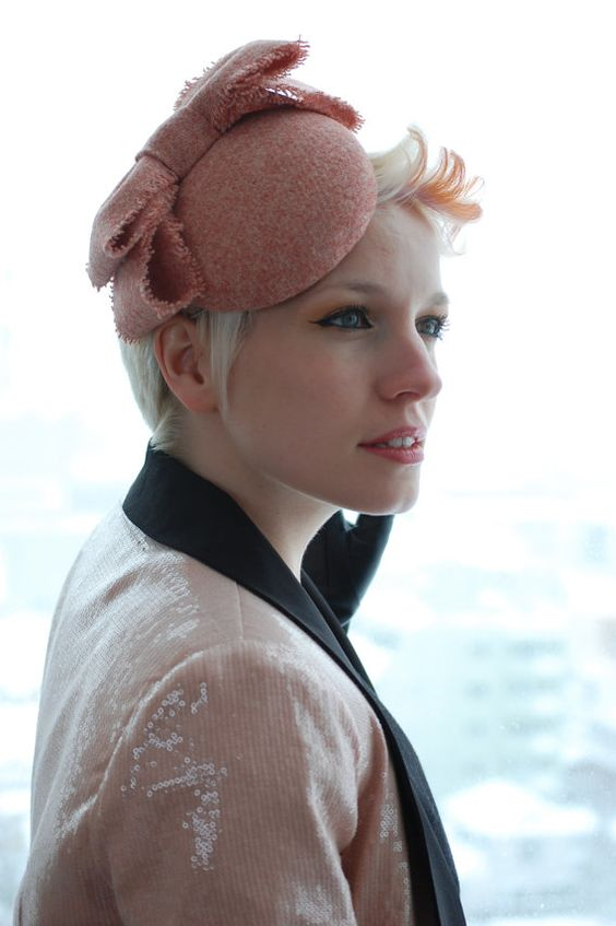 Cocktail hat Blush Pink Bows Harris Tweed hat