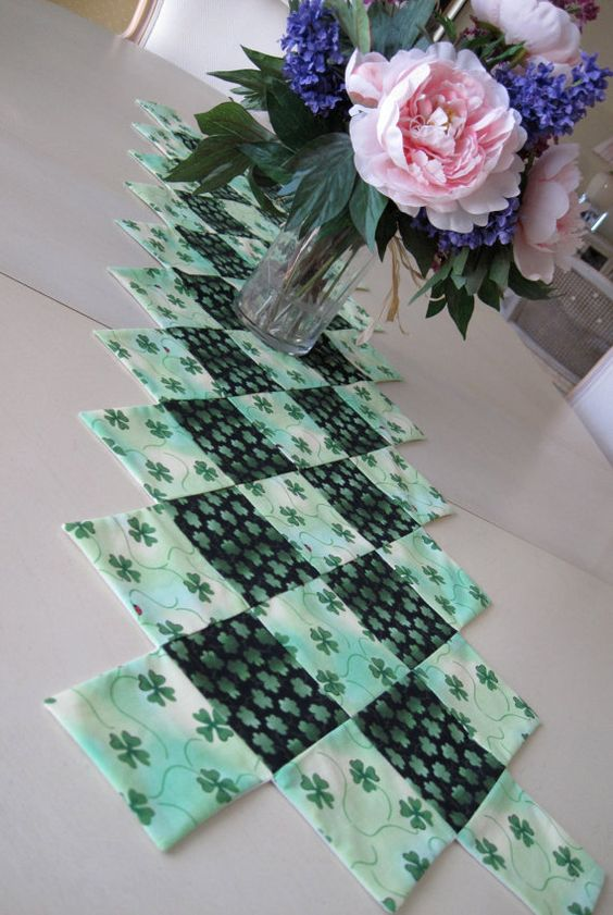 Irish Shamrock quilted table runner