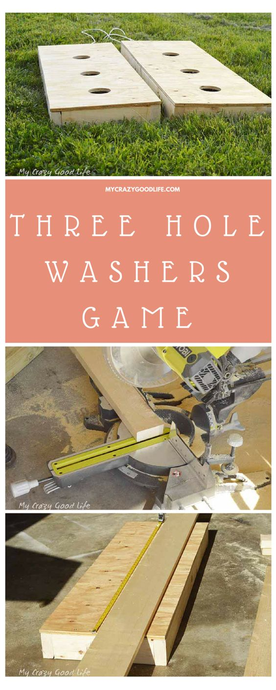 "DIY Three Hole Washers Backyard Party Game Tutorial via My Crazy Good Life ""This awesome DIY Lawn Game is super easy to make and will last for years to come! Three Hole Washers Game is much cheaper to build than it is to buy and ship! Make your own today in time for all those fun summer parties!"" #backyardgames #diyoutdoorgames #barbecuegames #barbecueideas #backyardpartygames #partygames #outdoorgames #diygames #yardgames #diyyardgames #summergames #summerparty #party #4thofJuly #fathersday #cookoutgames"