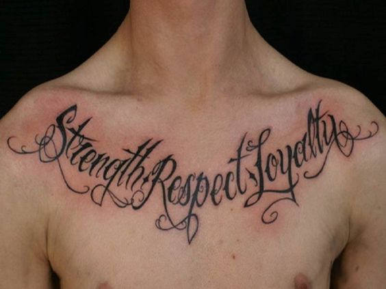 Meaningful quotes tattoo around the chest for guys