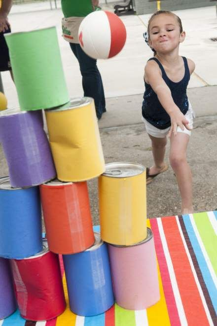 knock over cans carnival game - Google Search