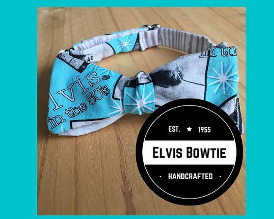 Retro Elvis Bow Tie  Adjustable  Self Tie by ecogardenbotanicals