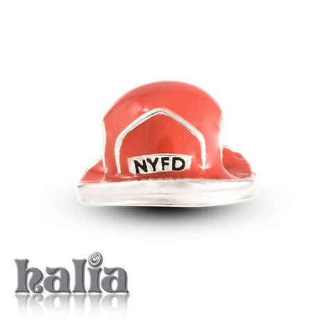 City Heroes: Firefighter helmet in red enamel on sterling silver: designed exclusively by Halia, this bead fits other popular bead-style charm bracelets as well. Sterling silver, hypo-allergenic and nickel free.      $42.00