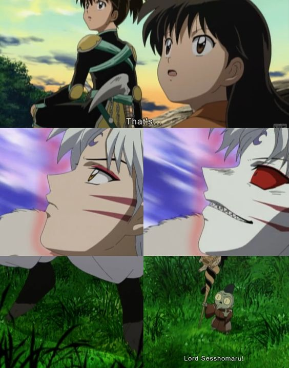 They see his mother... Kohaku, Rin, Lord Sesshoumaru, and Jaken InuYasha screenshots