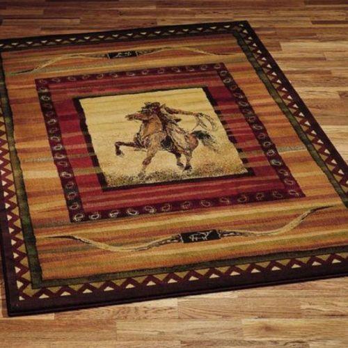 Roping Cowboy Horse Longhorn Ranch Western Area Rug 5x8 Actual 5 039 3 034 X 7 039 6 034 Western Area Rugs Western Rugs Area Rugs