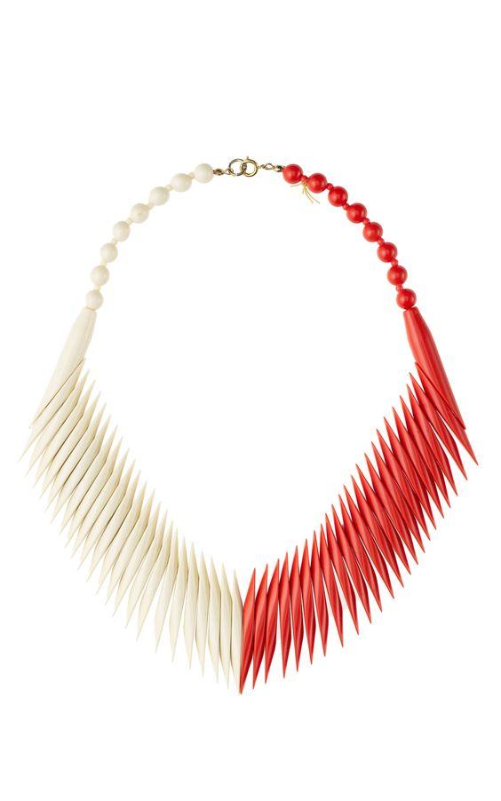 Carole Tanenbaum Two-Tone Geometric Bead Necklace at Moda Operandi