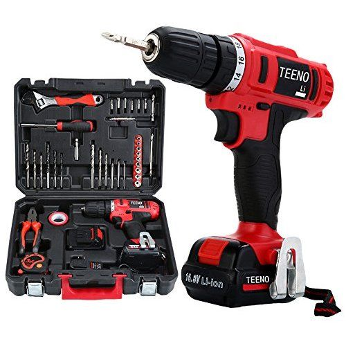 Teeno Cordless Drill Set 16 8v Lithium 2 Batteries Drill Driver Kit With 36 Accessories Drill Set Cordless Drill Battery Drill