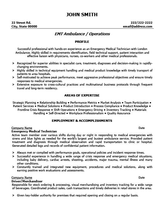 Emt B Resume Examples Resume Templates