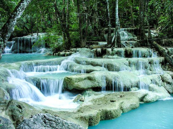 Erawan Falls, Thailand  Something about waterfalls ...
