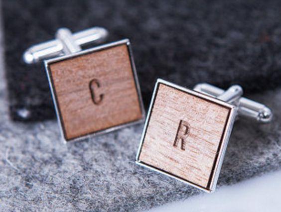 Wooden Initial Cufflinks