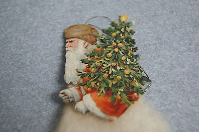 ANTIQUE GERMAN CHRISTMAS ORNAMENT COTTON SKIRTED FATHER CHRISTMAS WITH TREE
