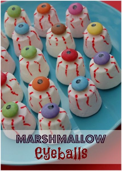 Eats Amazing UK - Edible Eyeballs recipe made from marshmallows topped with smarties - great party food or fun Halloween treat for kids!
