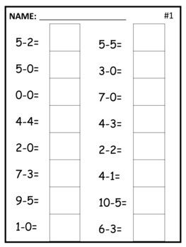 Simple Addition And Subtraction Worksheets For Kindergarten By Kelsey Kindergarten Subtraction Worksheets Kindergarten Addition Worksheets Addition Worksheets