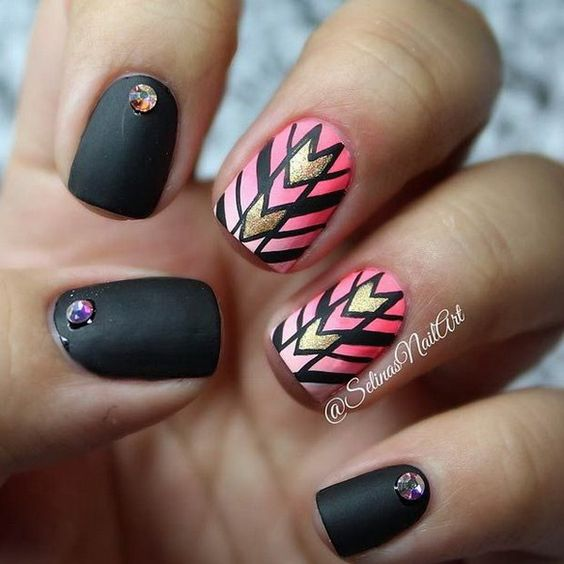 Black Matte & Ombre Pink Tribal Inspired Nail Art Design.