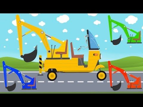 Rickshaw Mini Excavator Tuk Tuk Learn Colors Sounds And Name Of Street Vehicles For Teens Youtube Mini Excavator Learning Colors Excavator