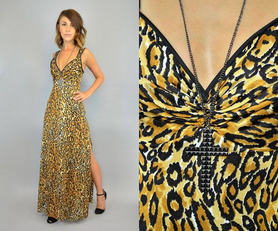 vtg 90's exotic animal print LEOPARD cheetah by discoleafvintage