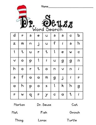 Printables Dr Seuss Worksheets dr seuss search and words on pinterest word search