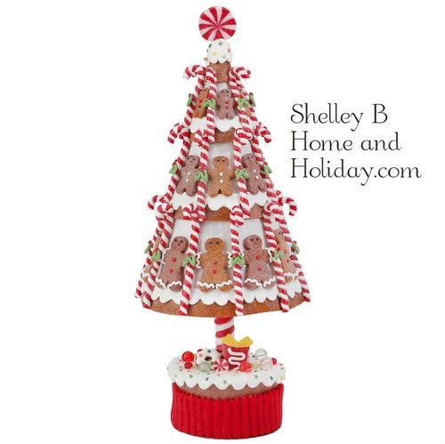 Gingerbread Men Candy Tree 15 5 Inches Tall Made Of Clay Dough Shelley B Home And Hol Gingerbread Christmas Tree Gingerbread Decorations Candy Christmas Tree