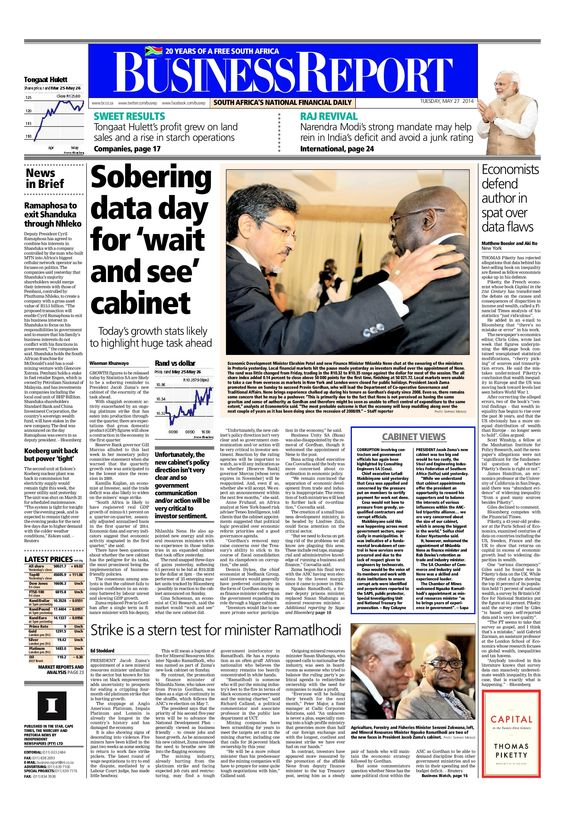 The front page of today's (May 27, 2014) Business Report paper deals with President Jacob Zuma's cabinet appointments as well as the latest economic growth figures due for release.  To read these stories and more click here: http://www.iol.co.za/business