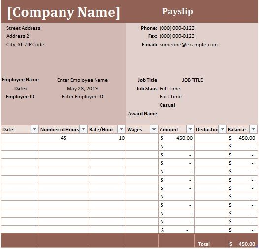 Editable Payslip Template 2 Excel And Word Examples Free