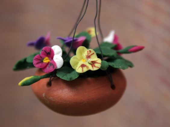 Dolls House pansies in a hanging basket from The Wonham Collection. FL73.