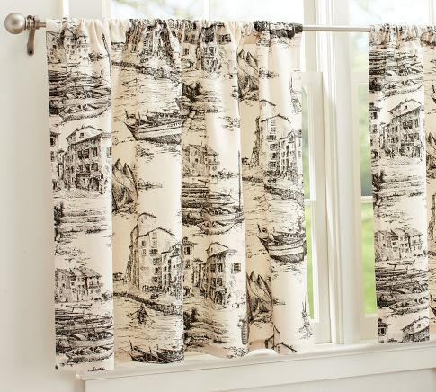 black and white toile cafe curtain | Guest WC | Pinterest ...